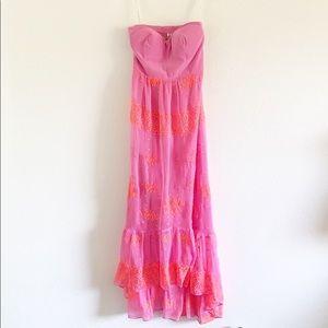 Twelfth St Cynthia Vincent Pink Bustier Silk Dress